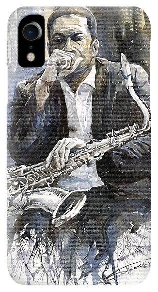 iPhone XR Case - Jazz Saxophonist John Coltrane Yellow by Yuriy Shevchuk