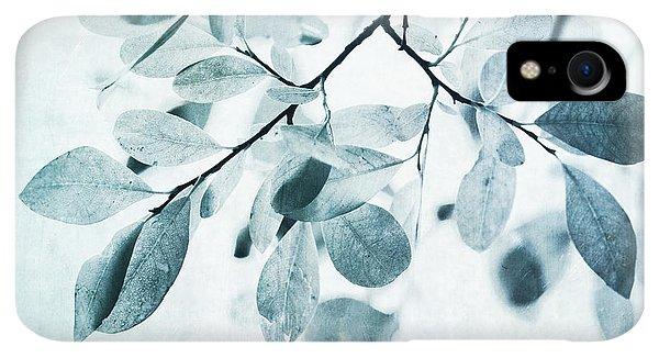 iPhone XR Case - Leaves In Dusty Blue by Priska Wettstein