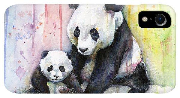 Print iPhone XR Case - Panda Watercolor Mom And Baby by Olga Shvartsur
