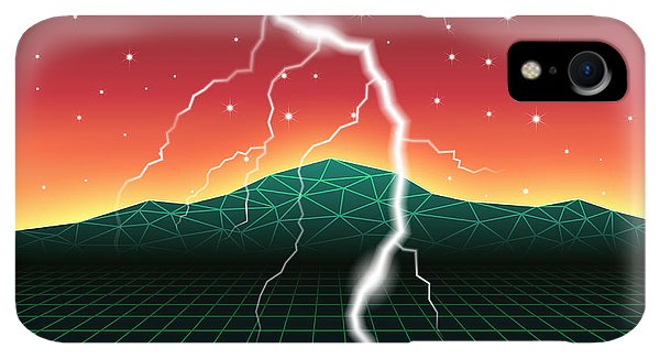 Space iPhone XR Case - Neon New Retro Wave Landscape With by Swill Klitch