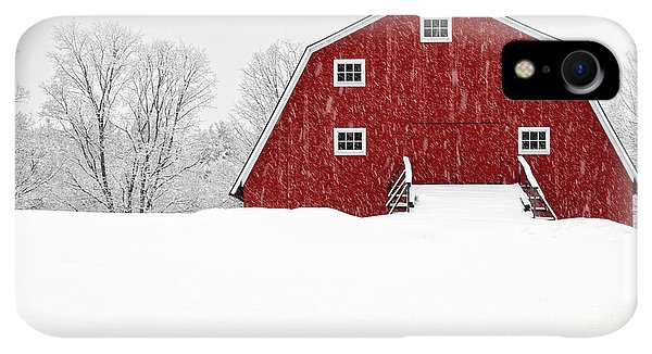 Etna iPhone XR Case - New England Red Barn In Winter Snow Storm by Edward Fielding