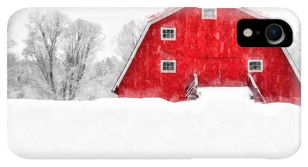 Etna iPhone XR Case - New England Red Barn In Winter Snow Storm Watercolor by Edward Fielding