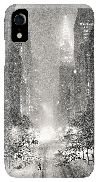 Winter iPhone XR Case - New York City - Winter Night Overlooking The Chrysler Building by Vivienne Gucwa