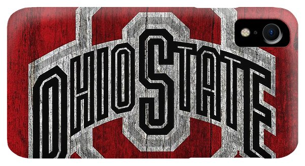Scarlet iPhone XR Case - Ohio State University On Worn Wood by Dan Sproul