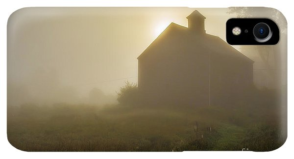 Etna iPhone XR Case - Old Barn Foggy Morning by Edward Fielding
