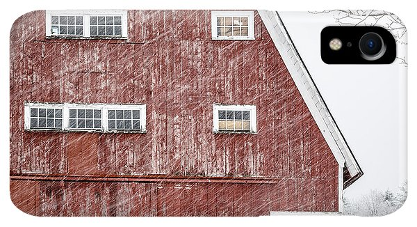 Etna iPhone XR Case - Red Barn Whiteout by Edward Fielding
