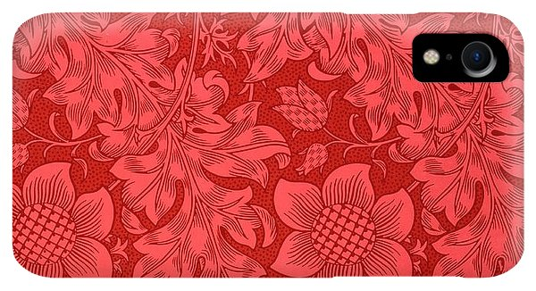 Print iPhone XR Case - Red Sunflower Wallpaper Design, 1879 by William Morris