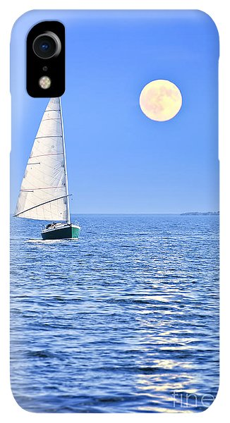 Boats iPhone XR Case - Sailboat At Full Moon by Elena Elisseeva