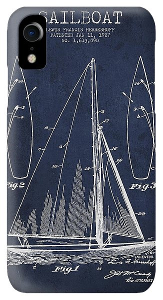 Boats iPhone XR Case - Sailboat Patent Drawing From 1927 by Aged Pixel