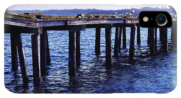 Whidbey iPhone XR Case - Seagulls On A Pier, Whidbey Island by Panoramic Images