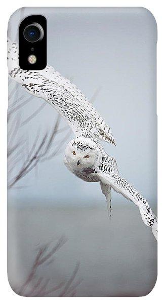 Winter iPhone XR Case - Snowy Owl In Flight by Carrie Ann Grippo-Pike
