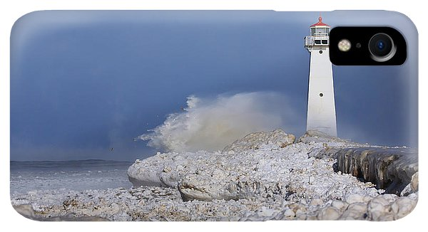 Winter iPhone XR Case - Sodus Bay Lighthouse by Everet Regal