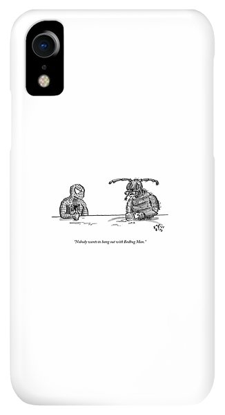 Bar iPhone XR Case - Spiderman And Bedbug Man Are Seen Speaking by Farley Katz