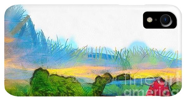 Etna iPhone XR Case - Sunset On The Farm Pencil by Edward Fielding