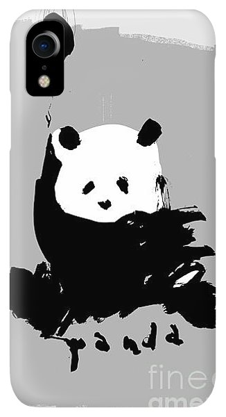 Small iPhone XR Case - Symbolic Image Of A Panda On A Gray by Dmitriip