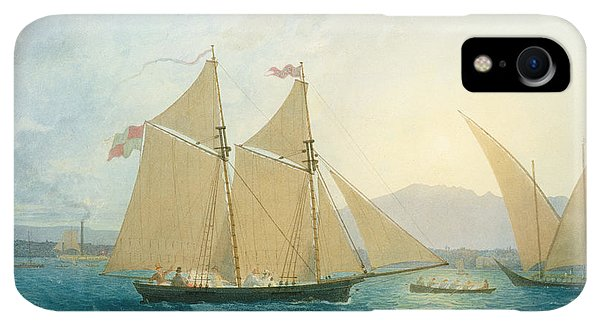 Boats iPhone XR Case - The Launch La Sociere On The Lake Of Geneva by Francis  Danby