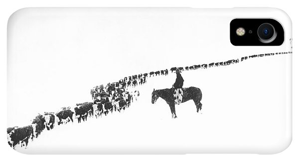 Winter iPhone XR Case - The Long Long Line by Underwood Archives  Charles Belden