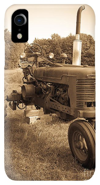Etna iPhone XR Case - The Old Tractor Sepia by Edward Fielding