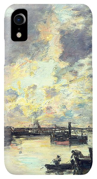 Boats iPhone XR Case - The Port by Eugene Louis Boudin
