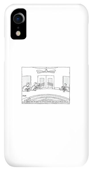 Bar iPhone XR Case - Two Superheros Martini-man And Beer-man Sitting by Jack Ziegler