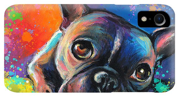 Print iPhone XR Case - Whimsical Colorful French Bulldog  by Svetlana Novikova