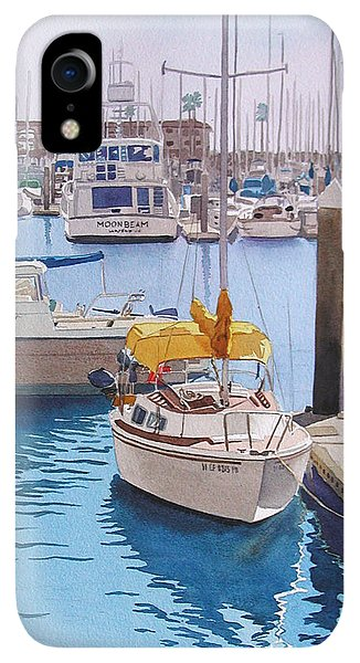 Boats iPhone XR Case - Yellow Sailboat Oceanside by Mary Helmreich