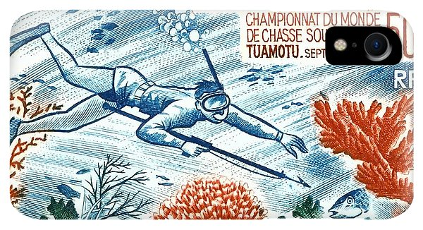 Scuba Diving iPhone XR Case -  1965 French Polynesia Spearfishing Postage Stamp by Retro Graphics