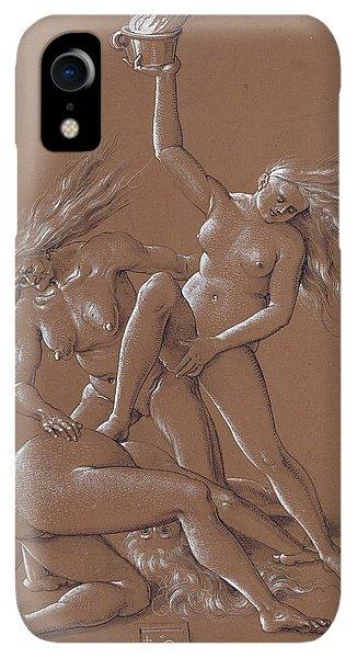 Albrecht Durer iPhone XR Case - New Year's Greeting With Three Witches  by Albrecht Durer