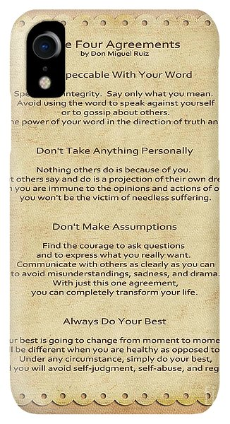 Spirituality iPhone XR Case - 41- The Four Agreements by Joseph Keane