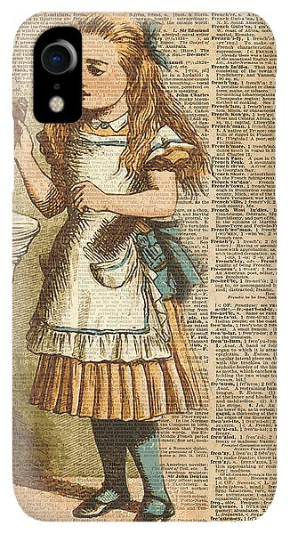 Print iPhone XR Case - Alice In Wonderland Drink Me Vintage Dictionary Art Illustration by Anna W