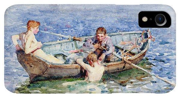 Boats iPhone XR Case - August Blue by Henry Scott Tuke