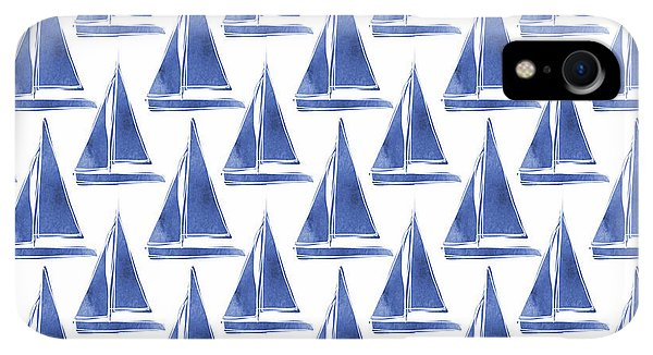 Boats iPhone XR Case - Blue And White Sailboats Pattern- Art By Linda Woods by Linda Woods
