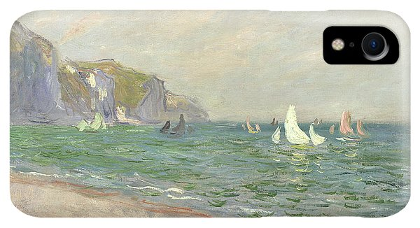 Boats iPhone XR Case - Boats Below The Cliffs At Pourville by Claude Monet