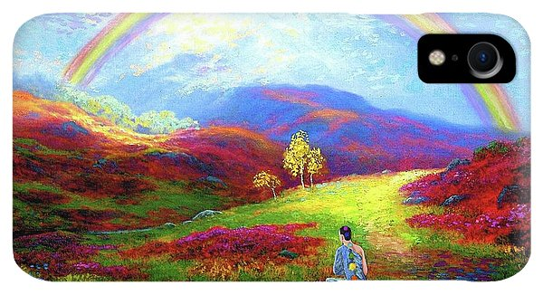 Violet iPhone XR Case - Buddha Chakra Rainbow Meditation by Jane Small