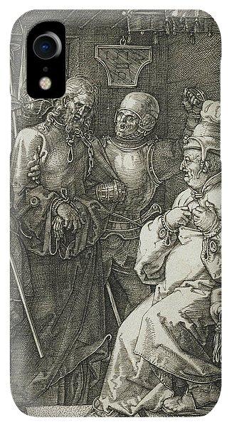 Albrecht Durer iPhone XR Case - Christ Before Caiaphas by Albrecht Durer