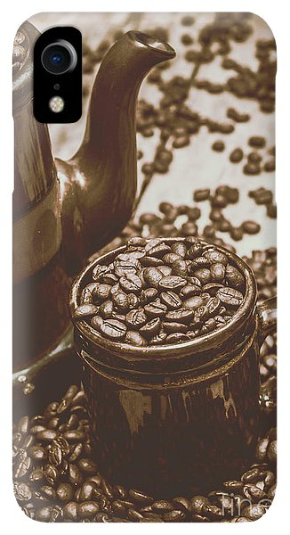 Kettles iPhone XR Case - Cup And Teapot Filled With Roasted Coffee Beans by Jorgo Photography - Wall Art Gallery