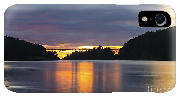 Whidbey iPhone XR Case - Deception Pass Bridge Sunset Reflection by Mike Reid