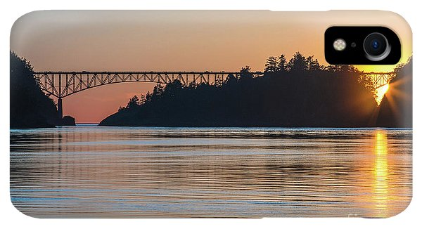 Whidbey iPhone XR Case - Deception Pass Bridge Sunset Sunstar by Mike Reid