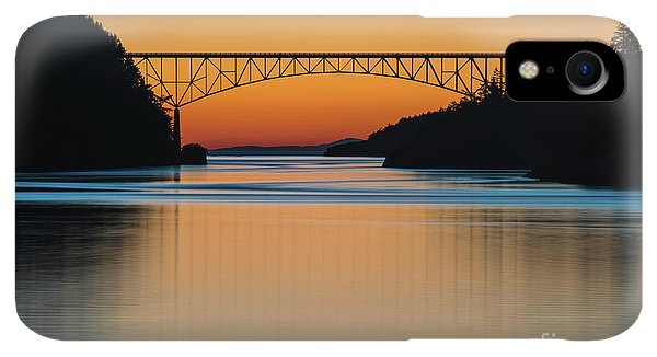Whidbey iPhone XR Case - Deception Pass Bridge Sunset Tranquility by Mike Reid