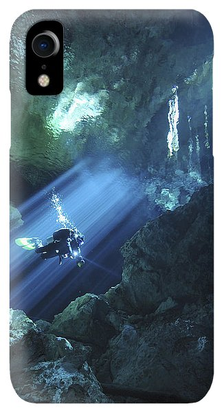 Scuba Diving iPhone XR Case - Diver Silhouetted In Sunrays Of Cenote by Karen Doody