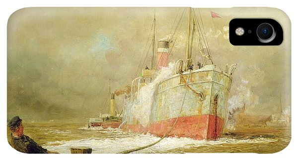 Boats iPhone XR Case - Docking A Cargo Ship by William Lionel Wyllie