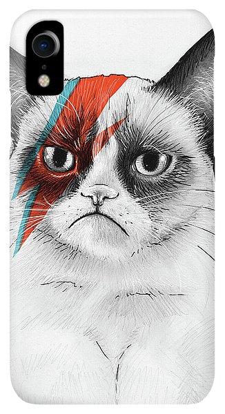 Print iPhone XR Case - Grumpy Cat As David Bowie by Olga Shvartsur