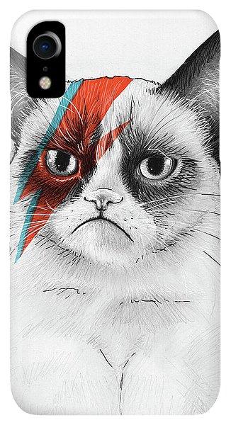 iPhone XR Case - Grumpy Cat As David Bowie by Olga Shvartsur