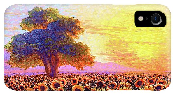 Violet iPhone XR Case - In Awe Of Sunflowers, Sunset Fields by Jane Small