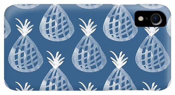Print iPhone XR Case - Indigo Pineapple Party by Linda Woods
