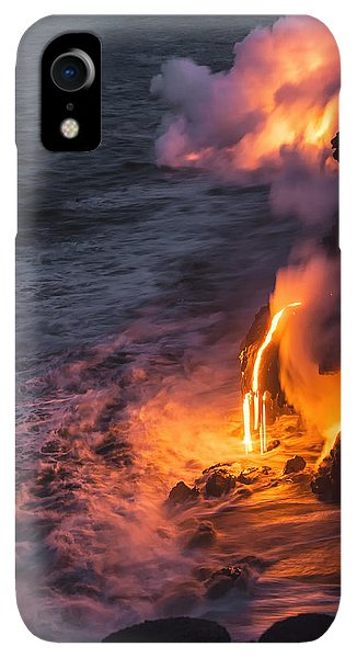 Flow iPhone XR Case - Kilauea Volcano Lava Flow Sea Entry 6 - The Big Island Hawaii by Brian Harig