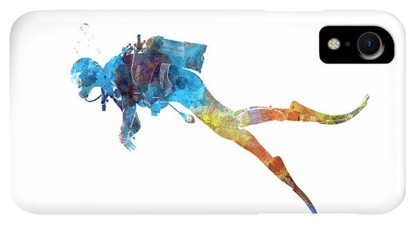 Scuba Diving iPhone XR Case - Man Scuba Diver 01 In Watercolor by Pablo Romero