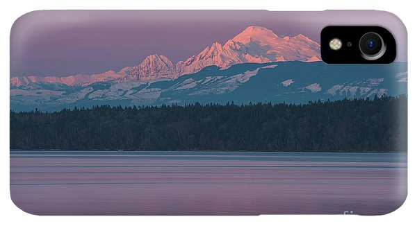 Whidbey iPhone XR Case - Mount Baker Alpenglow Tranquility by Mike Reid