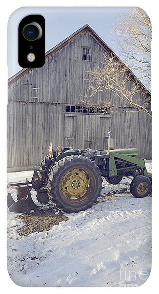 Etna iPhone XR Case - Old Tractor By The Barn Winter Etna by Edward Fielding