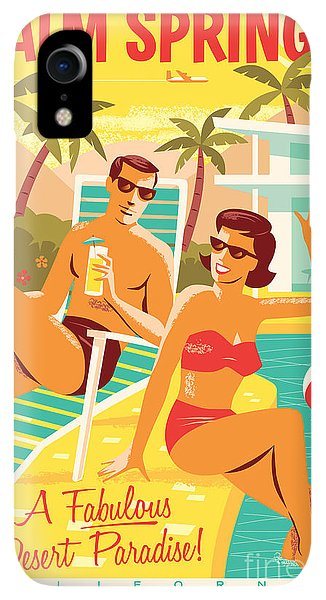 Print iPhone XR Case - Palm Springs Poster - Retro Travel by Jim Zahniser